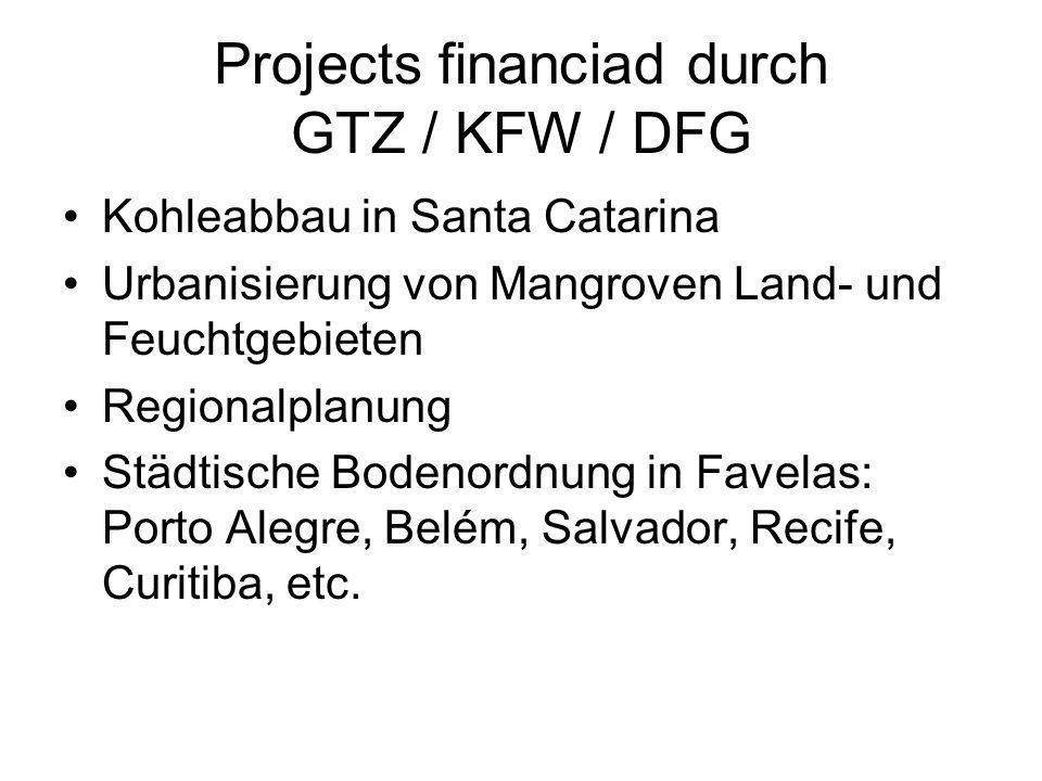 Projects financiad durch GTZ / KFW / DFG Kohleabbau in Santa Catarina Urbanisierung von Mangroven Land- und Feuchtgebieten Regionalplanung Städtische Bodenordnung in Favelas: Porto Alegre, Belém, Salvador, Recife, Curitiba, etc.