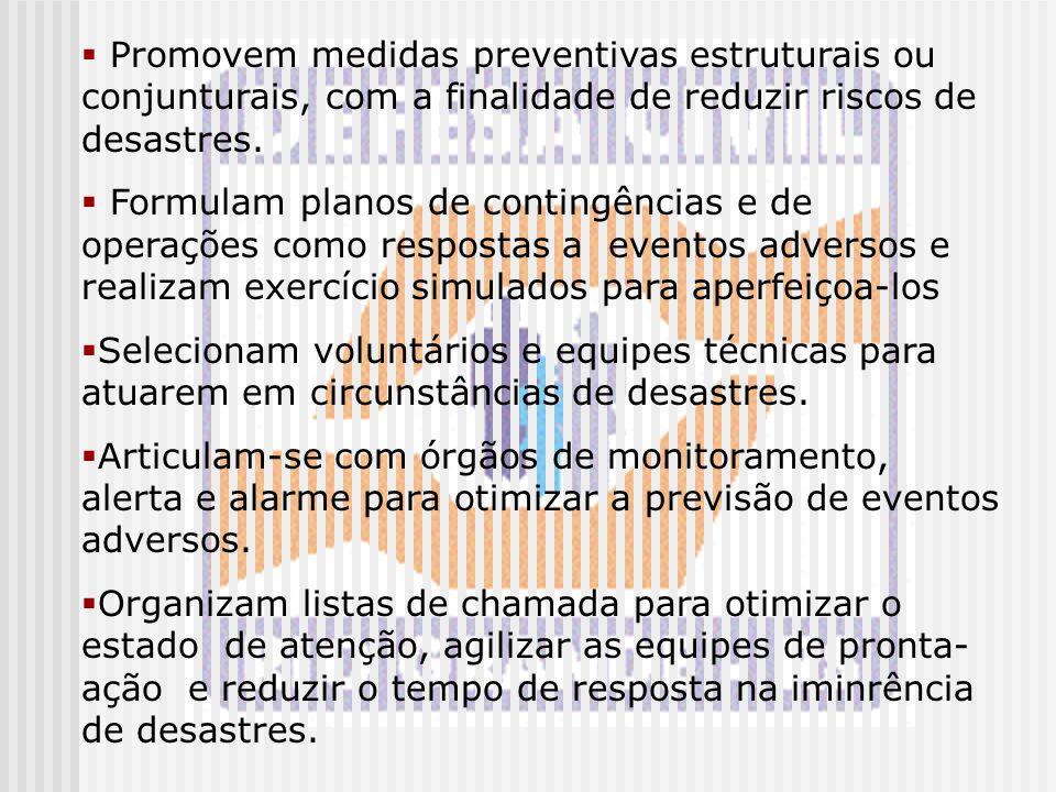  Promovem medidas preventivas estruturais ou conjunturais, com a finalidade de reduzir riscos de desastres.  Formulam planos de contingências e de o