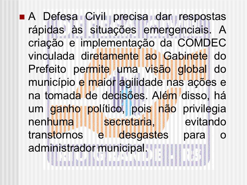 A Defesa Civil precisa dar respostas rápidas às situações emergenciais. A criação e implementação da COMDEC vinculada diretamente ao Gabinete do Prefe