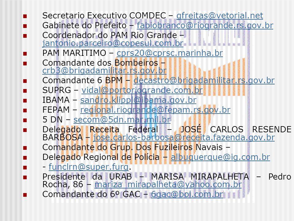 Secretario Executivo COMDEC – gfreitas@vetorial.netgfreitas@vetorial.net Gabinete do Prefeito – fabiobranco@riogrande.rs.gov.brfabiobranco@riogrande.r