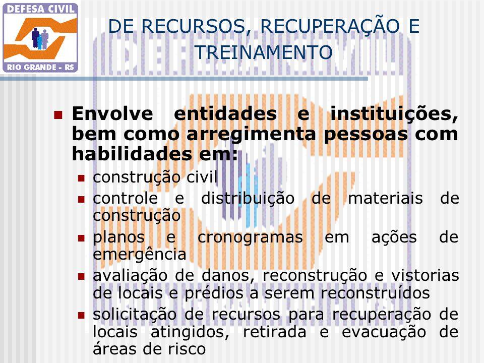 DE RECURSOS, RECUPERAÇÃO E TREINAMENTO Envolve entidades e instituições, bem como arregimenta pessoas com habilidades em: construção civil controle e
