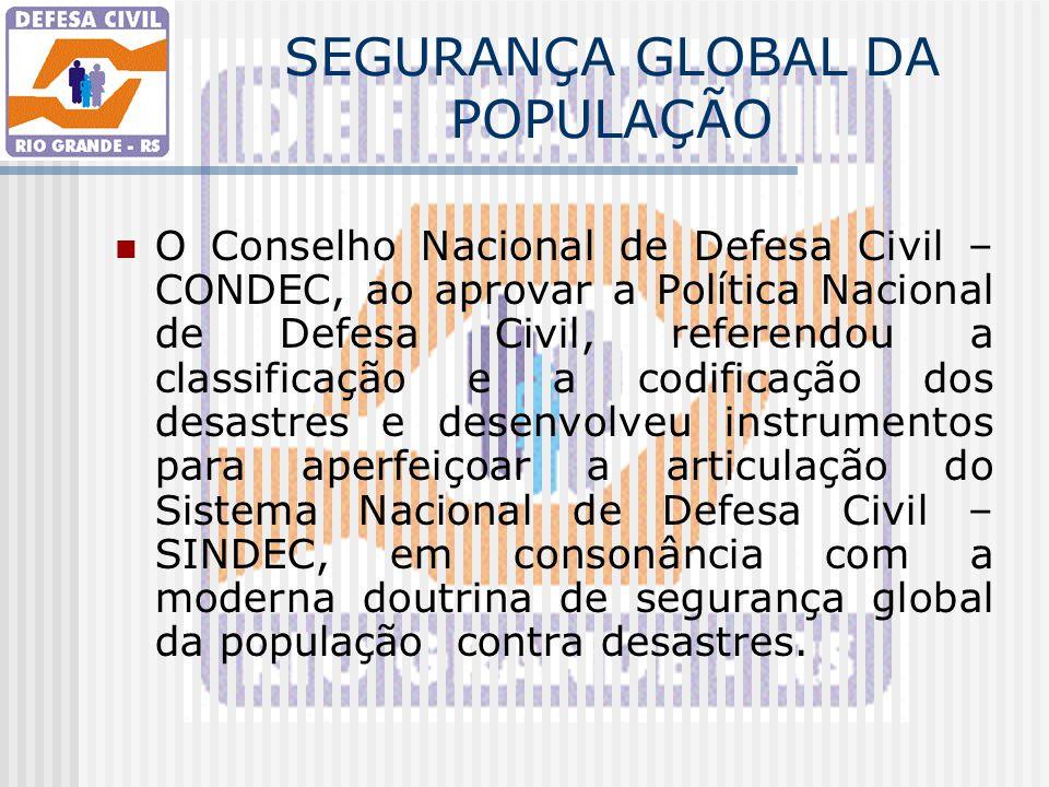 SEGURANÇA GLOBAL DA POPULAÇÃO O Conselho Nacional de Defesa Civil – CONDEC, ao aprovar a Política Nacional de Defesa Civil, referendou a classificação