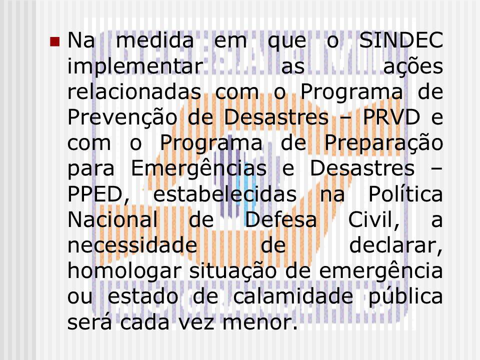 Na medida em que o SINDEC implementar as ações relacionadas com o Programa de Prevenção de Desastres – PRVD e com o Programa de Preparação para Emergê