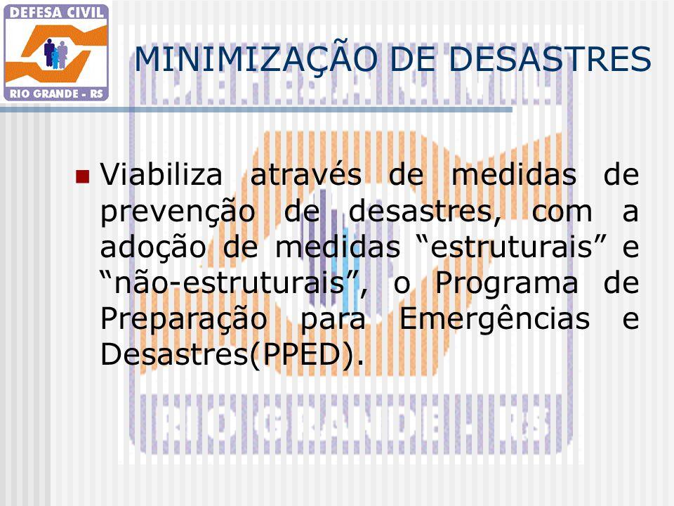 """MINIMIZAÇÃO DE DESASTRES Viabiliza através de medidas de prevenção de desastres, com a adoção de medidas """"estruturais"""" e """"não-estruturais"""", o Programa"""