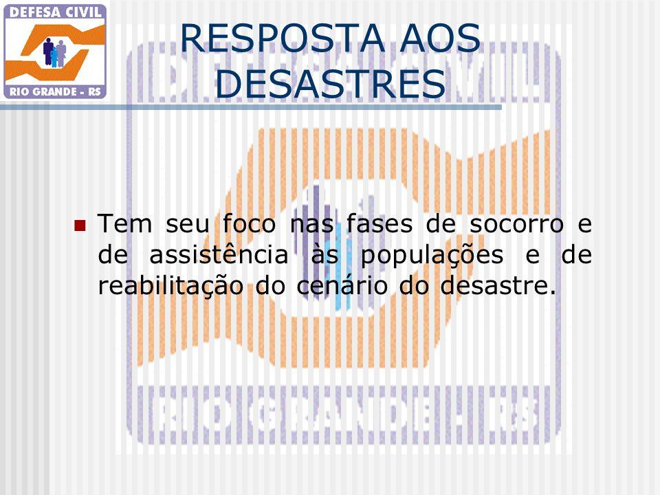 RESPOSTA AOS DESASTRES Tem seu foco nas fases de socorro e de assistência às populações e de reabilitação do cenário do desastre.