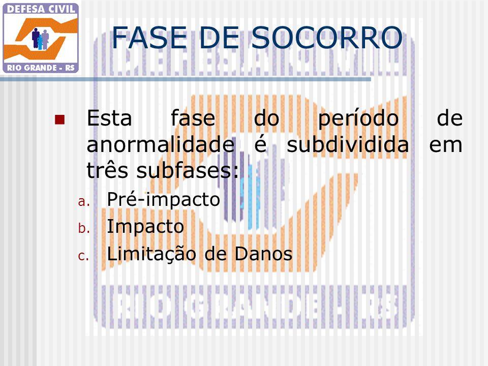 FASE DE SOCORRO Esta fase do período de anormalidade é subdividida em três subfases: a. Pré-impacto b. Impacto c. Limitação de Danos