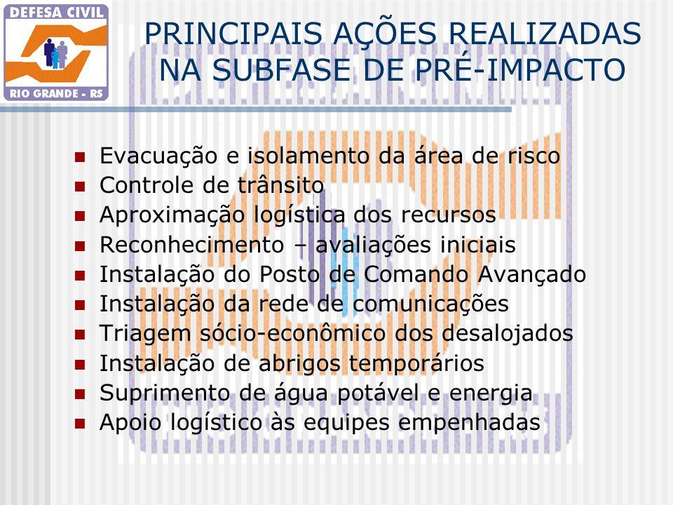 PRINCIPAIS AÇÕES REALIZADAS NA SUBFASE DE PRÉ-IMPACTO Evacuação e isolamento da área de risco Controle de trânsito Aproximação logística dos recursos