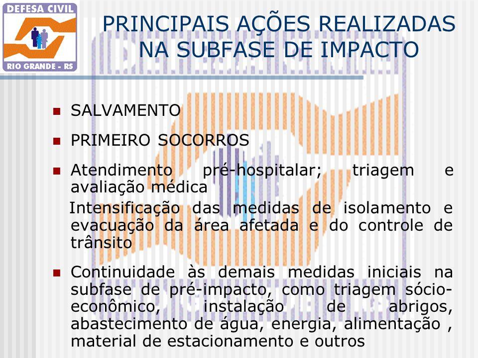 PRINCIPAIS AÇÕES REALIZADAS NA SUBFASE DE IMPACTO SALVAMENTO PRIMEIRO SOCORROS Atendimento pré-hospitalar; triagem e avaliação médica Intensificação d