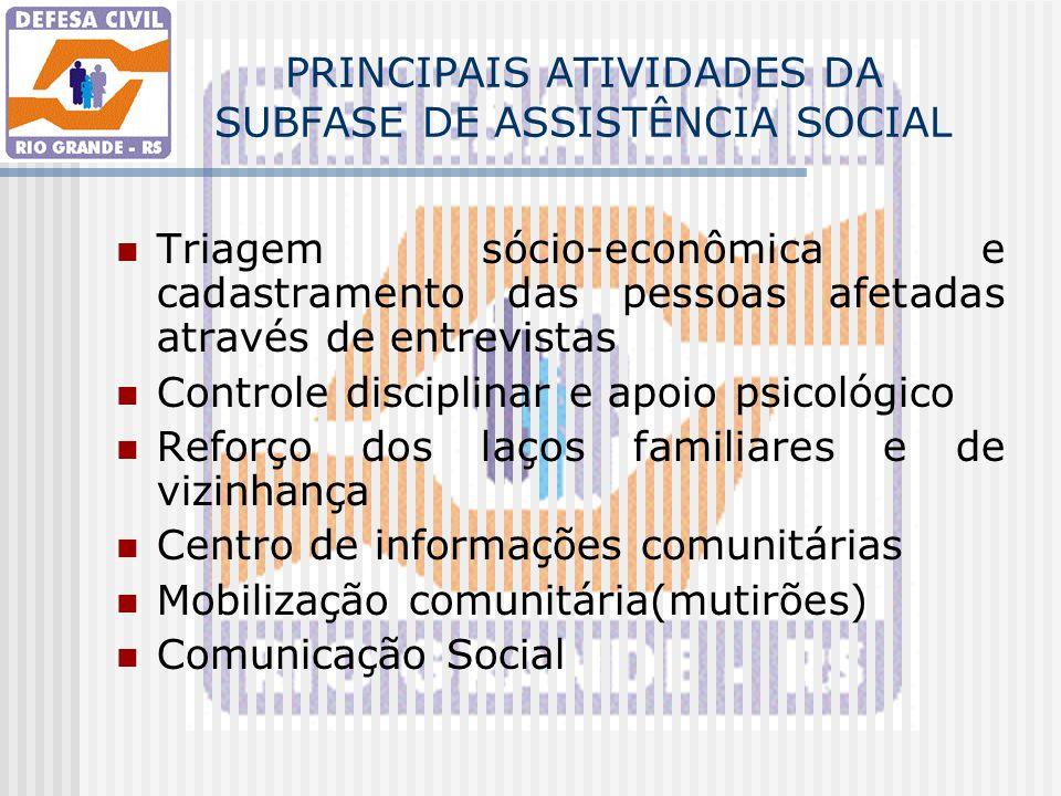 PRINCIPAIS ATIVIDADES DA SUBFASE DE ASSISTÊNCIA SOCIAL Triagem sócio-econômica e cadastramento das pessoas afetadas através de entrevistas Controle di