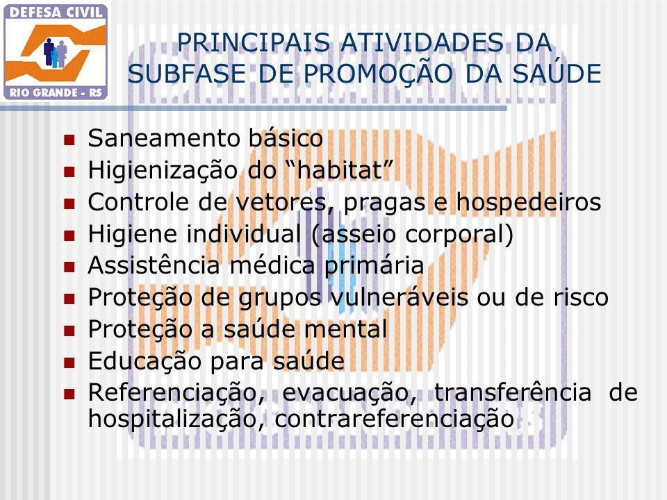 """PRINCIPAIS ATIVIDADES DA SUBFASE DE PROMOÇÃO DA SAÚDE Saneamento básico Higienização do """"habitat"""" Controle de vetores, pragas e hospedeiros Higiene in"""