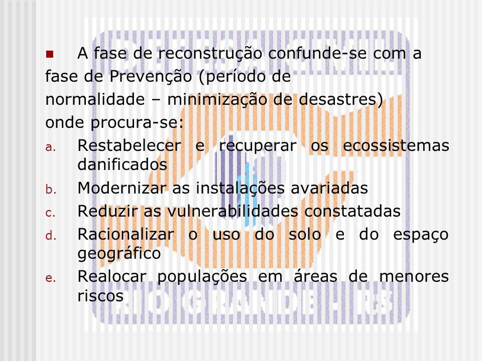 A fase de reconstrução confunde-se com a fase de Prevenção (período de normalidade – minimização de desastres) onde procura-se: a. Restabelecer e recu