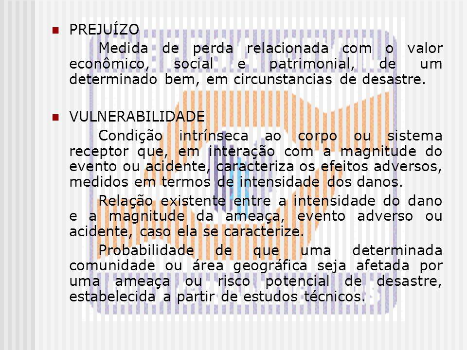 PREJUÍZO Medida de perda relacionada com o valor econômico, social e patrimonial, de um determinado bem, em circunstancias de desastre. VULNERABILIDAD