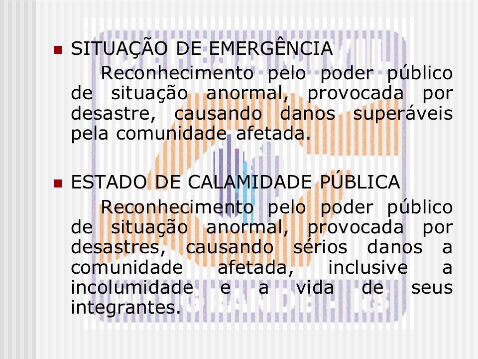 SITUAÇÃO DE EMERGÊNCIA Reconhecimento pelo poder público de situação anormal, provocada por desastre, causando danos superáveis pela comunidade afetad