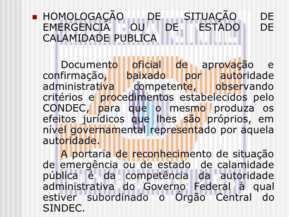 HOMOLOGAÇÃO DE SITUAÇÃO DE EMERGENCIA OU DE ESTADO DE CALAMIDADE PUBLICA Documento oficial de aprovação e confirmação, baixado por autoridade administ