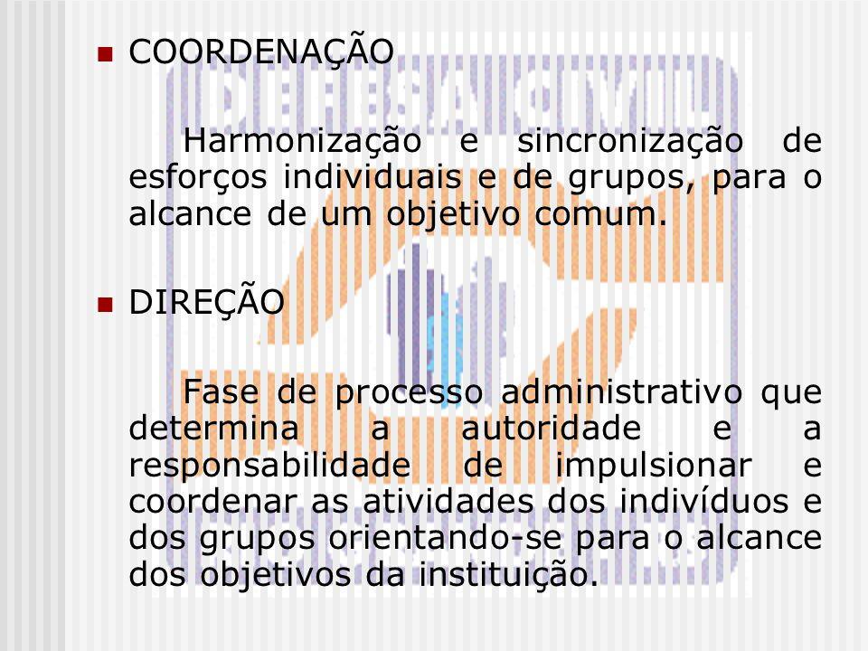 COORDENAÇÃO Harmonização e sincronização de esforços individuais e de grupos, para o alcance de um objetivo comum. DIREÇÃO Fase de processo administra