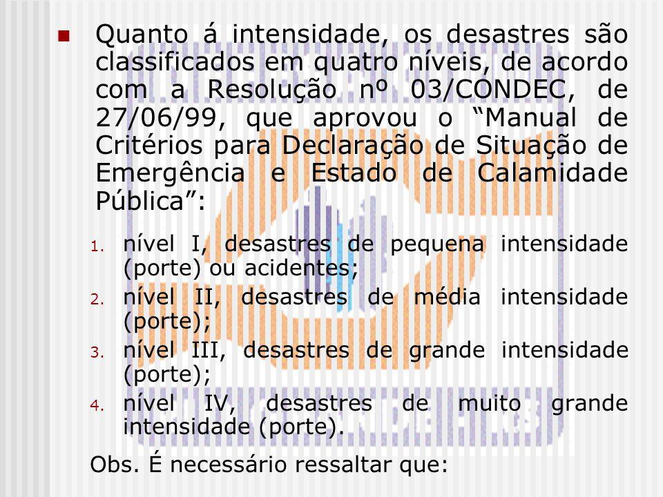 """Quanto á intensidade, os desastres são classificados em quatro níveis, de acordo com a Resolução nº 03/CONDEC, de 27/06/99, que aprovou o """"Manual de C"""