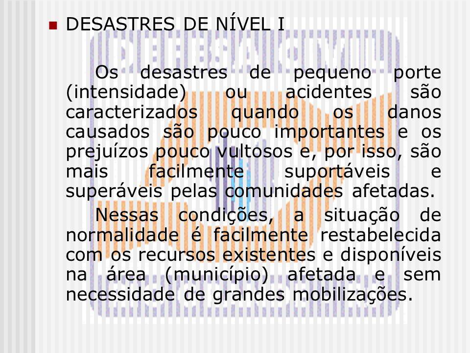 DESASTRES DE NÍVEL I Os desastres de pequeno porte (intensidade) ou acidentes são caracterizados quando os danos causados são pouco importantes e os p