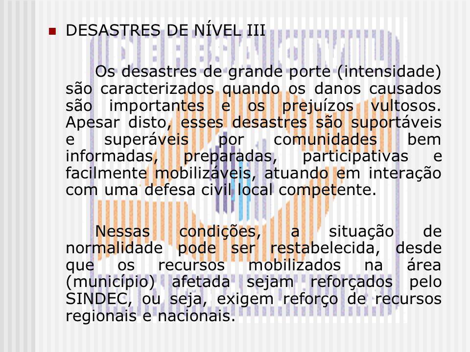 DESASTRES DE NÍVEL III Os desastres de grande porte (intensidade) são caracterizados quando os danos causados são importantes e os prejuízos vultosos.
