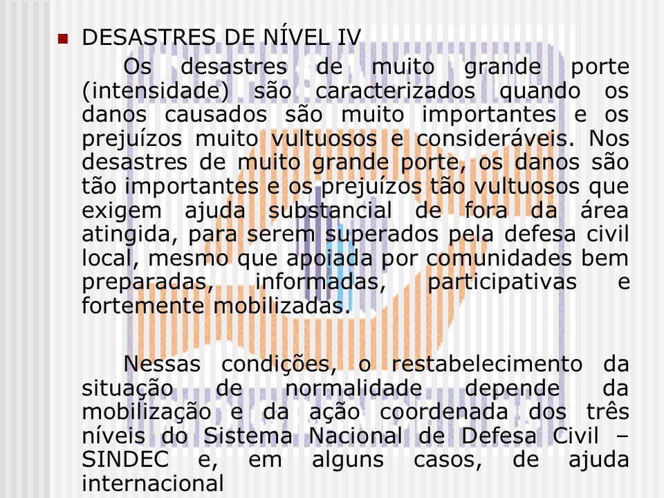 DESASTRES DE NÍVEL IV Os desastres de muito grande porte (intensidade) são caracterizados quando os danos causados são muito importantes e os prejuízo