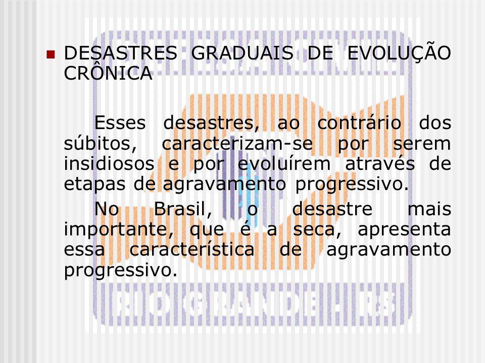 DESASTRES GRADUAIS DE EVOLUÇÃO CRÔNICA Esses desastres, ao contrário dos súbitos, caracterizam-se por serem insidiosos e por evoluírem através de etap
