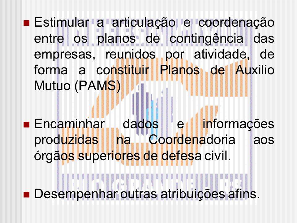 Estimular a articulação e coordenação entre os planos de contingência das empresas, reunidos por atividade, de forma a constituir Planos de Auxilio Mu