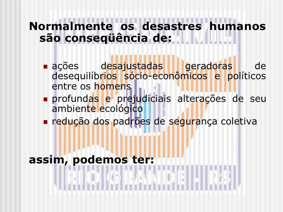 Normalmente os desastres humanos são conseqüência de: ações desajustadas geradoras de desequilíbrios sócio-econômicos e políticos entre os homens prof