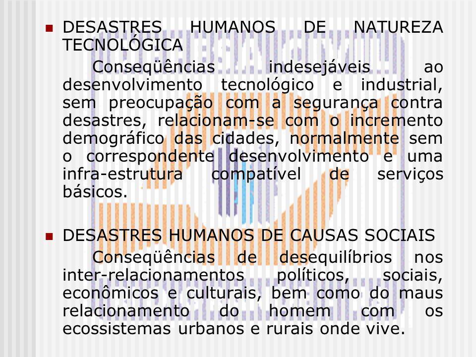 DESASTRES HUMANOS DE NATUREZA TECNOLÓGICA Conseqüências indesejáveis ao desenvolvimento tecnológico e industrial, sem preocupação com a segurança cont