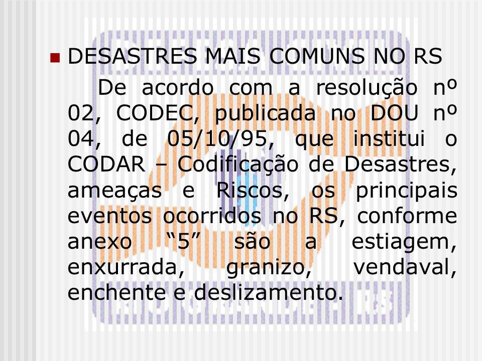 DESASTRES MAIS COMUNS NO RS De acordo com a resolução nº 02, CODEC, publicada no DOU nº 04, de 05/10/95, que institui o CODAR – Codificação de Desastr