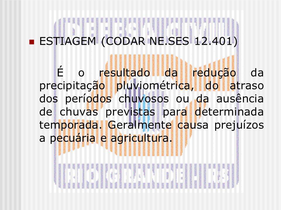 ESTIAGEM (CODAR NE.SES 12.401) É o resultado da redução da precipitação pluviométrica, do atraso dos períodos chuvosos ou da ausência de chuvas previs