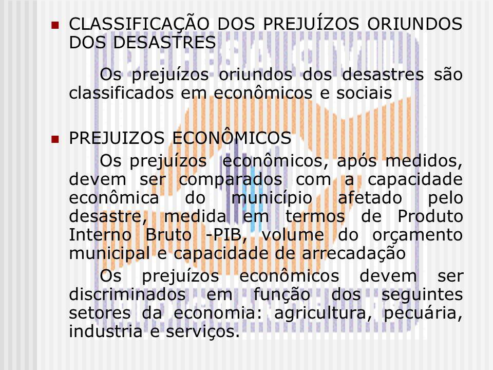 CLASSIFICAÇÃO DOS PREJUÍZOS ORIUNDOS DOS DESASTRES Os prejuízos oriundos dos desastres são classificados em econômicos e sociais PREJUIZOS ECONÔMICOS
