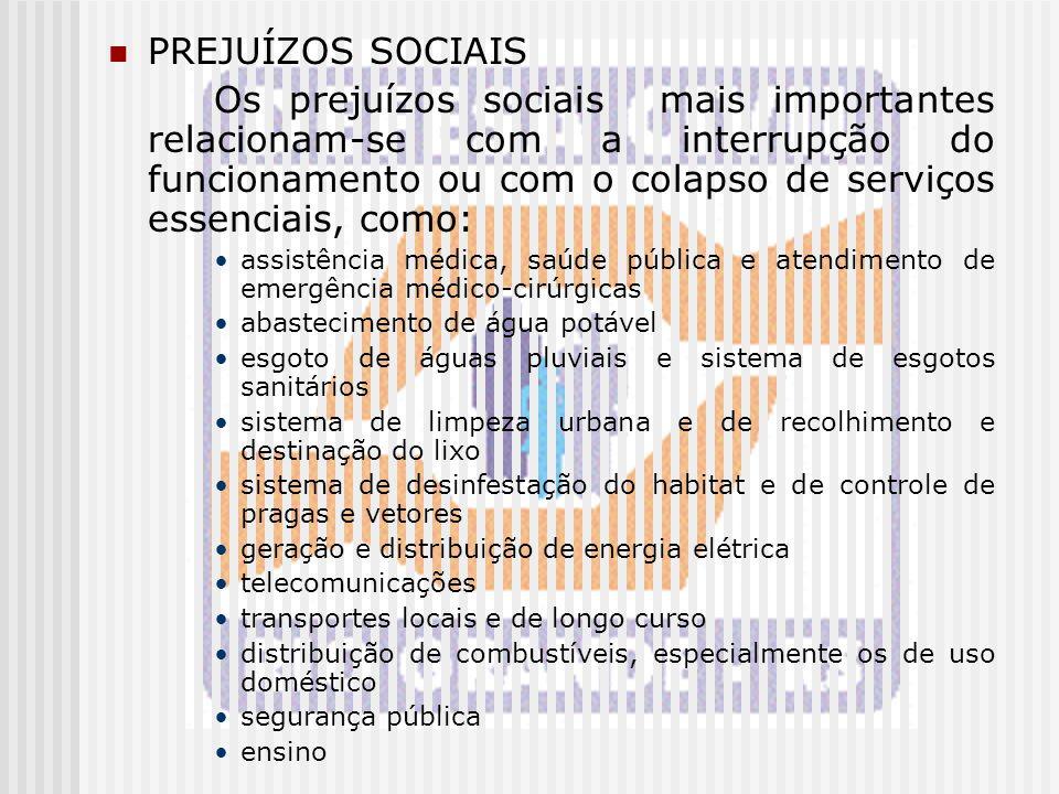 PREJUÍZOS SOCIAIS Os prejuízos sociais mais importantes relacionam-se com a interrupção do funcionamento ou com o colapso de serviços essenciais, como