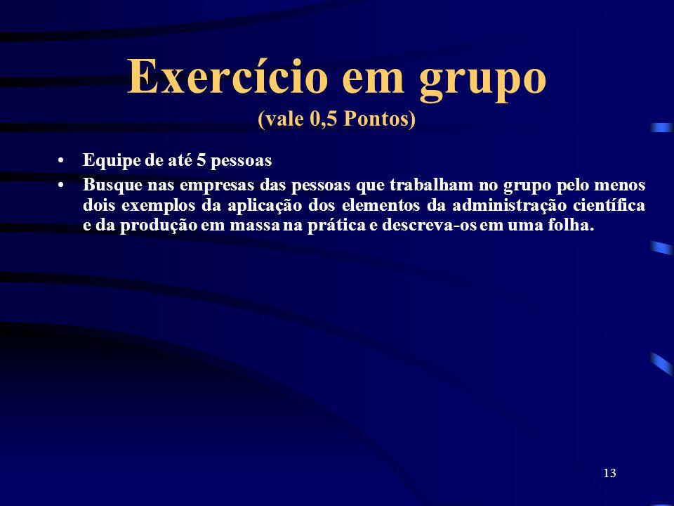 13 Exercício em grupo (vale 0,5 Pontos) Equipe de até 5 pessoas Busque nas empresas das pessoas que trabalham no grupo pelo menos dois exemplos da apl