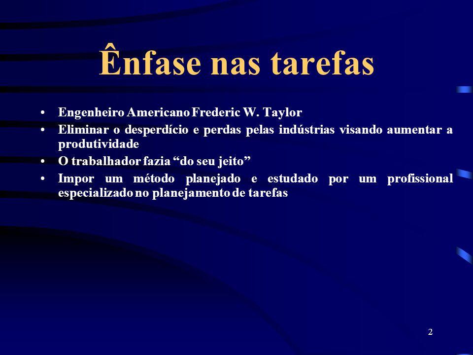 2 Ênfase nas tarefas Engenheiro Americano Frederic W. Taylor Eliminar o desperdício e perdas pelas indústrias visando aumentar a produtividade O traba