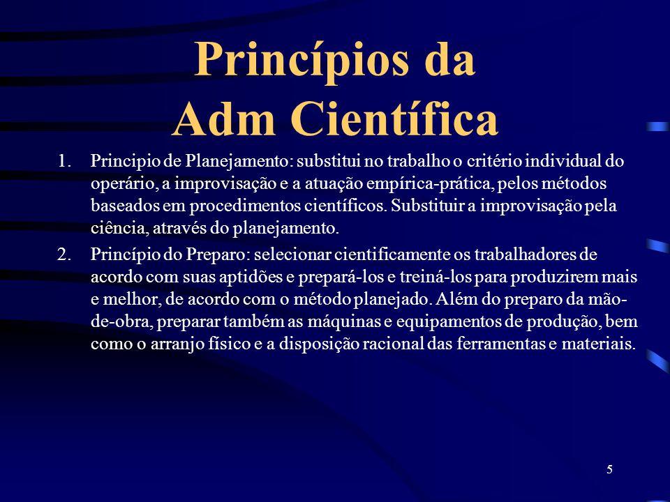 5 Princípios da Adm Científica 1.Principio de Planejamento: substitui no trabalho o critério individual do operário, a improvisação e a atuação empíri
