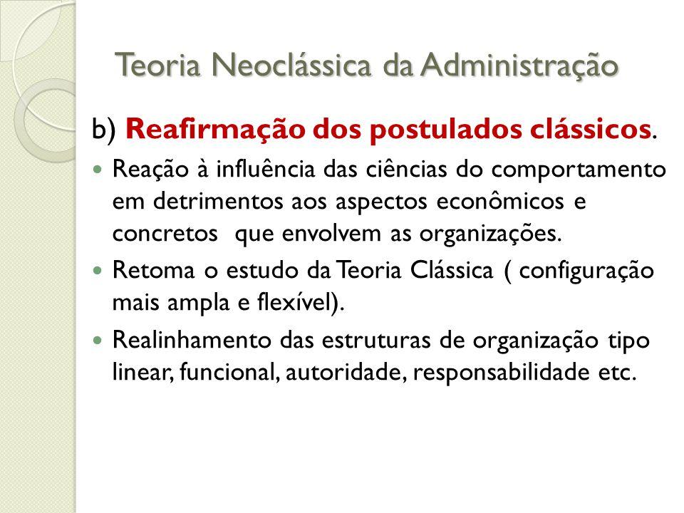 Teoria Neoclássica da Administração b) Reafirmação dos postulados clássicos.