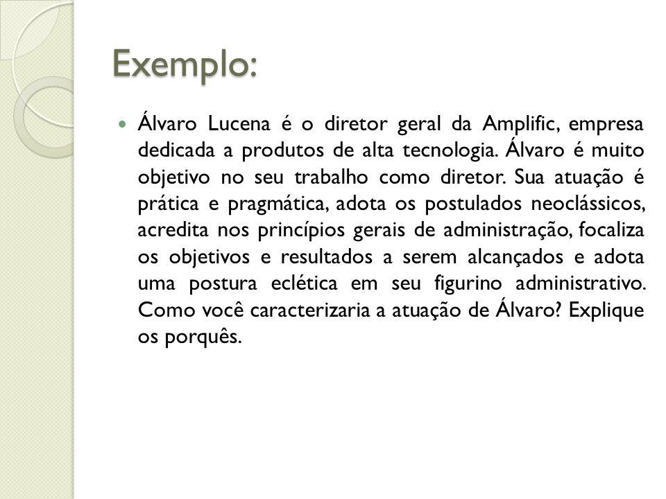 Exemplo: Álvaro Lucena é o diretor geral da Amplific, empresa dedicada a produtos de alta tecnologia.