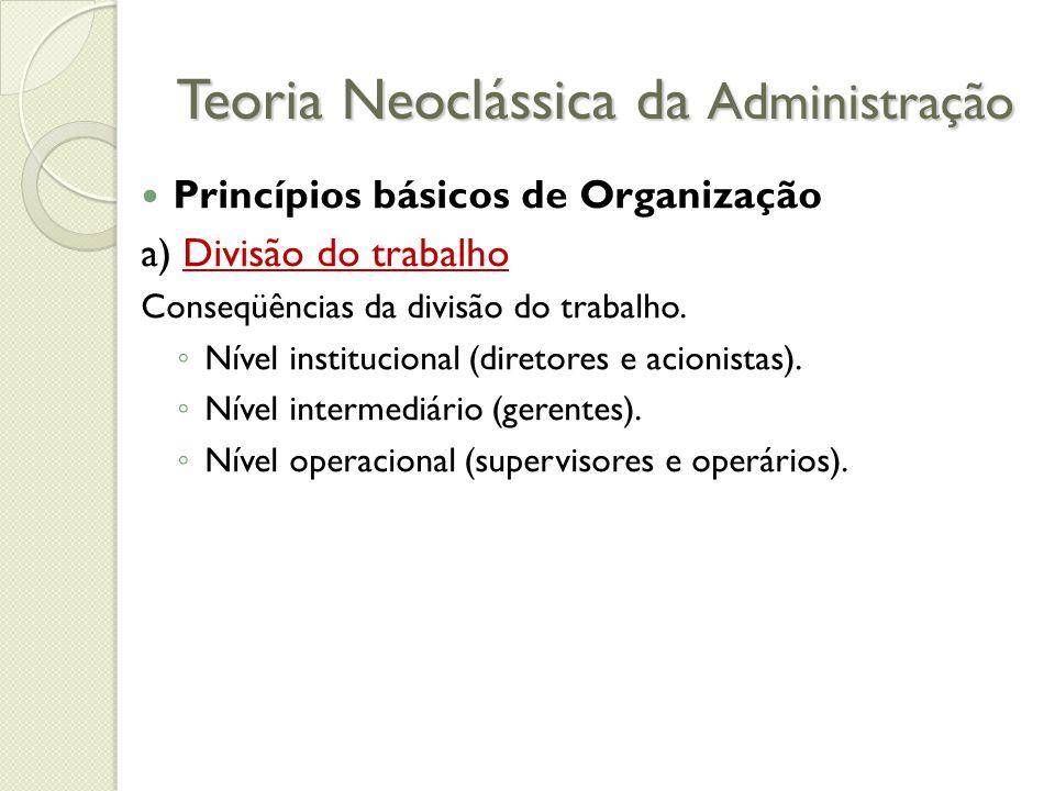 Teoria Neoclássica da Administração Princípios básicos de Organização a) Divisão do trabalho Conseqüências da divisão do trabalho.