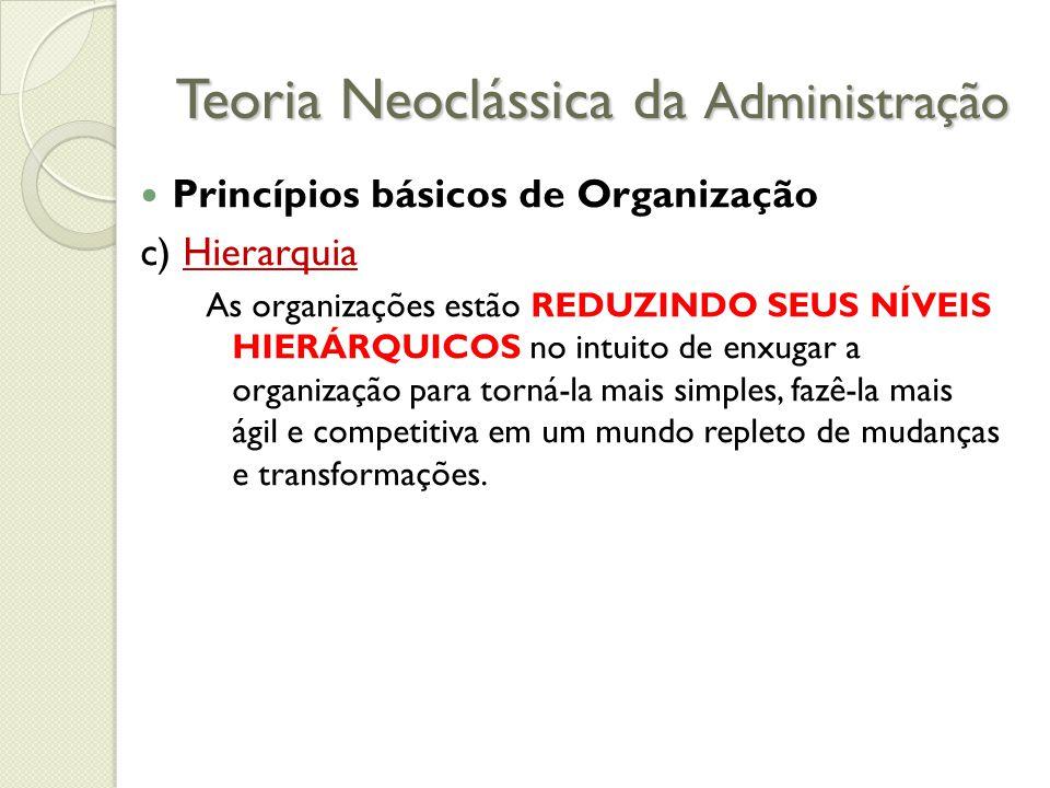 Teoria Neoclássica da Administração Princípios básicos de Organização c) Hierarquia As organizações estão REDUZINDO SEUS NÍVEIS HIERÁRQUICOS no intuito de enxugar a organização para torná-la mais simples, fazê-la mais ágil e competitiva em um mundo repleto de mudanças e transformações.