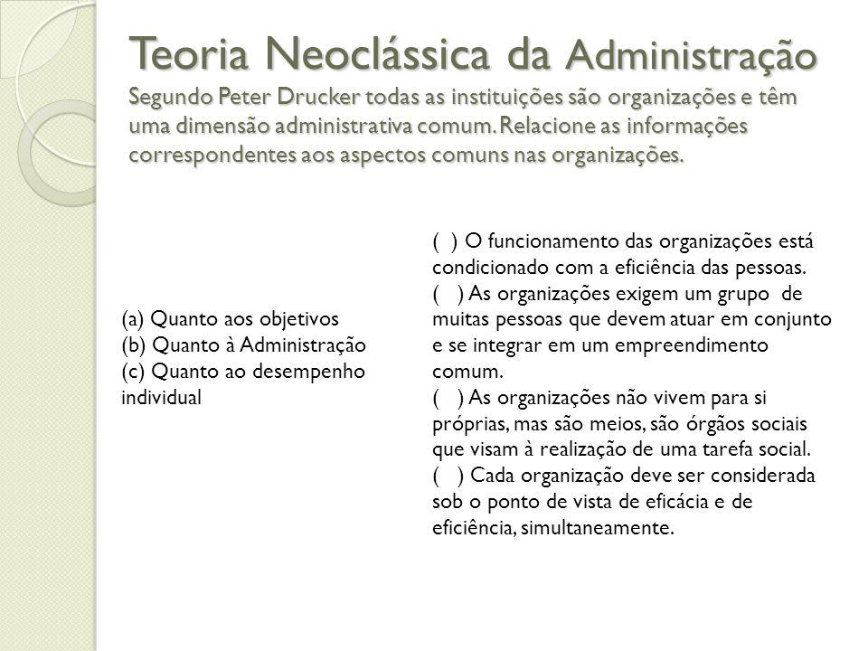 Teoria Neoclássica da Administração Segundo Peter Drucker todas as instituições são organizações e têm uma dimensão administrativa comum.