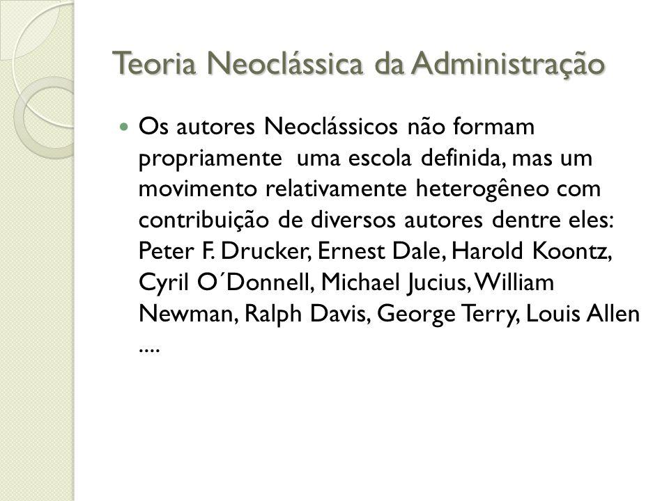 Teoria Neoclássica da Administração Os autores Neoclássicos não formam propriamente uma escola definida, mas um movimento relativamente heterogêneo com contribuição de diversos autores dentre eles: Peter F.