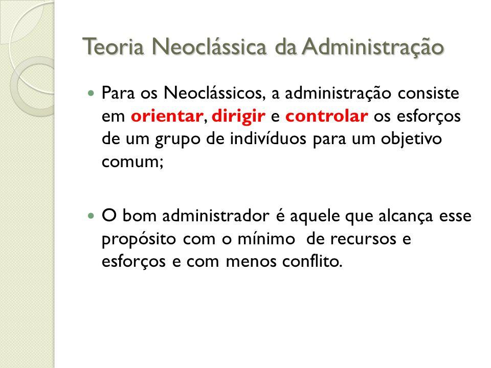 Teoria Neoclássica da Administração Aspectos comuns à Organização Quanto a Administração: ◦ As organizações são diferentes em seus objetivos e propósitos, mas semelhantes na área administrativa.