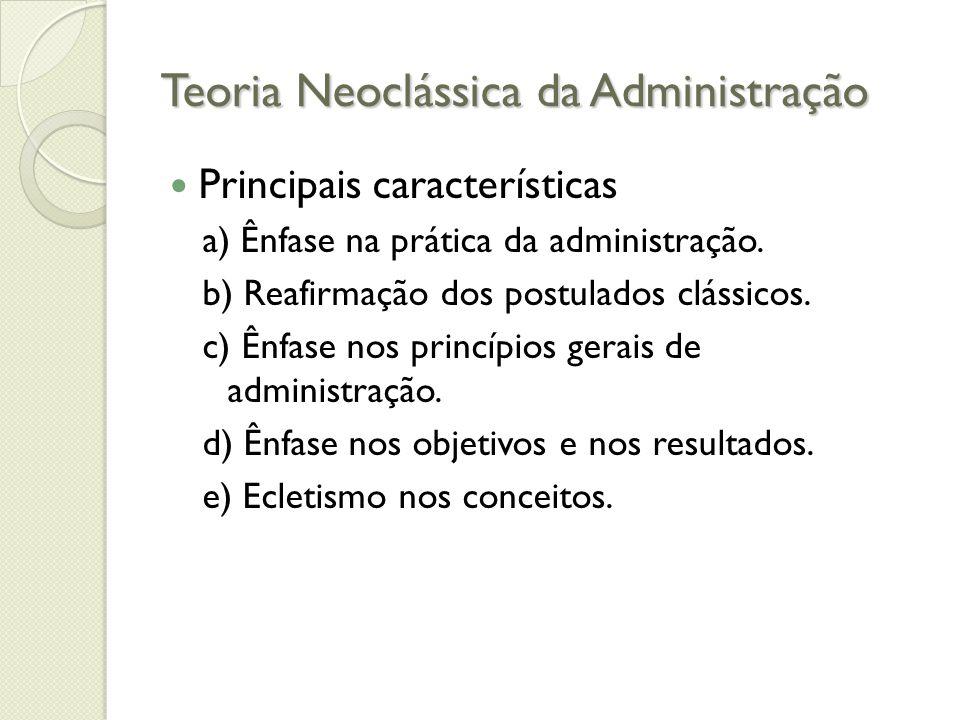 Teoria Neoclássica da Administração Aspectos comuns à Organização Quanto ao desempenho individual: ◦ Desempenho individual é a eficácia do pessoal que trabalha na organização.