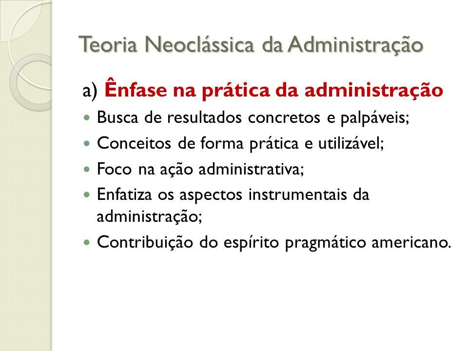 Teoria Neoclássica da Administração Princípios básicos de Organização c) Hierarquia ◦ Delegação  É o processo de transferir autoridade e responsabilidade para posições inferiores na hierarquia.