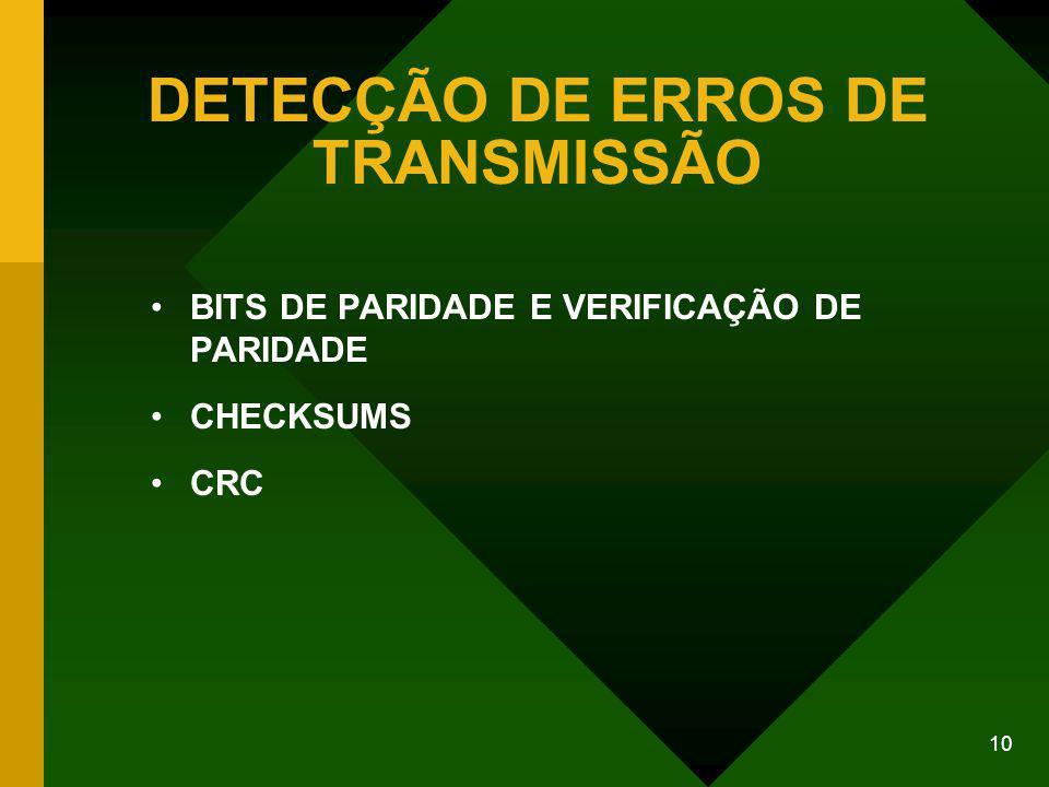 10 DETECÇÃO DE ERROS DE TRANSMISSÃO BITS DE PARIDADE E VERIFICAÇÃO DE PARIDADE CHECKSUMS CRC
