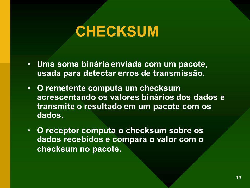 13 CHECKSUM Uma soma binária enviada com um pacote, usada para detectar erros de transmissão.