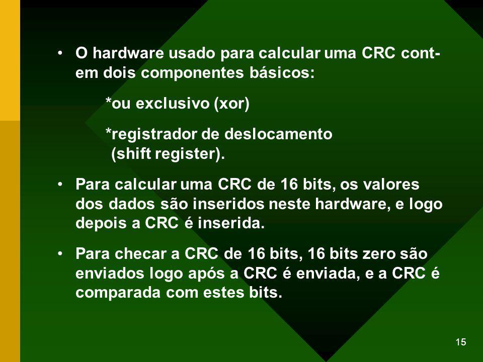 15 O hardware usado para calcular uma CRC cont- em dois componentes básicos: *ou exclusivo (xor) *registrador de deslocamento (shift register).