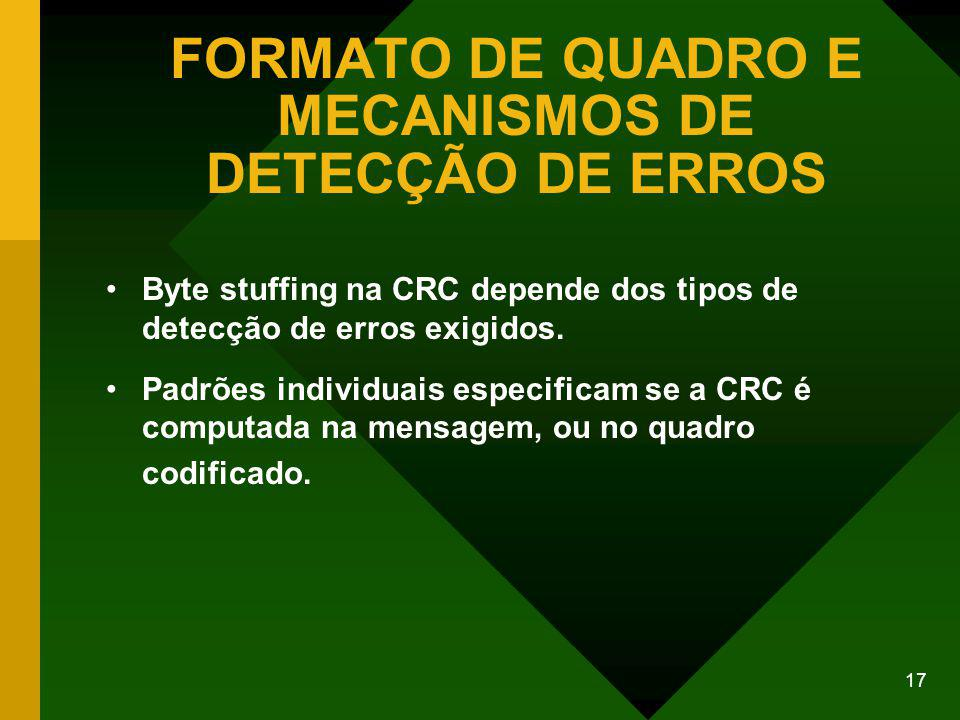 17 FORMATO DE QUADRO E MECANISMOS DE DETECÇÃO DE ERROS Byte stuffing na CRC depende dos tipos de detecção de erros exigidos.
