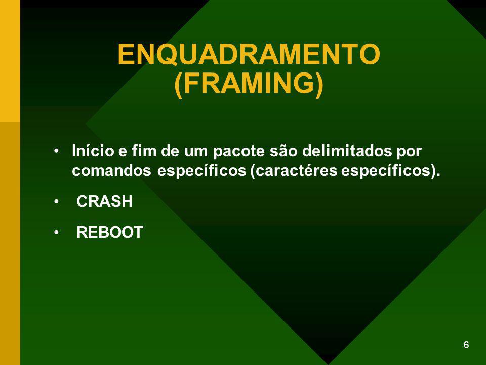 6 ENQUADRAMENTO (FRAMING) Início e fim de um pacote são delimitados por comandos específicos (caractéres específicos).