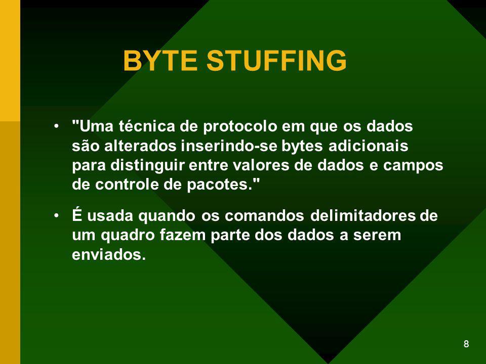 8 BYTE STUFFING Uma técnica de protocolo em que os dados são alterados inserindo-se bytes adicionais para distinguir entre valores de dados e campos de controle de pacotes. É usada quando os comandos delimitadores de um quadro fazem parte dos dados a serem enviados.
