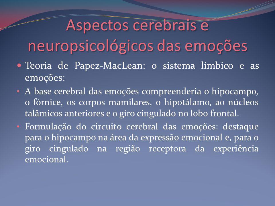 Aspectos cerebrais e neuropsicológicos das emoções Teoria de Papez-MacLean: o sistema límbico e as emoções: A base cerebral das emoções compreenderia o hipocampo, o fórnice, os corpos mamilares, o hipotálamo, ao núcleos talâmicos anteriores e o giro cingulado no lobo frontal.